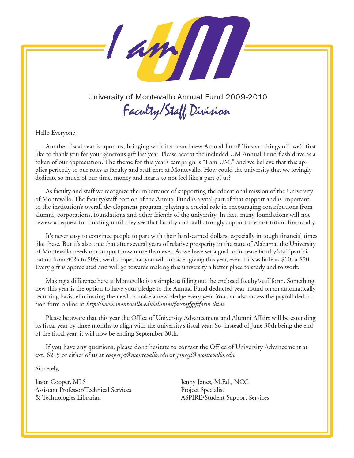 annual fund letter by university of montevallo