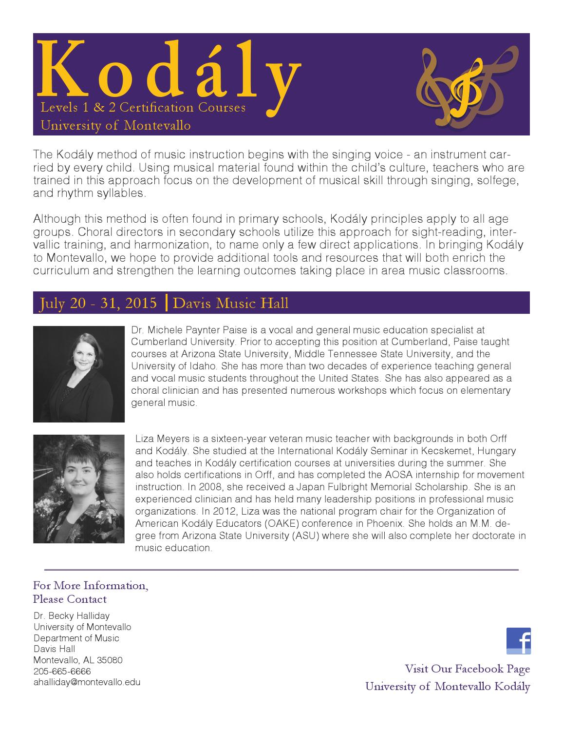 Kodaly Workshop Invite By University Of Montevallo Issuu
