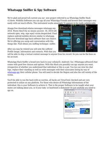 Whatsapp Sniffer & Spy Software by davidofoaimcjte - issuu