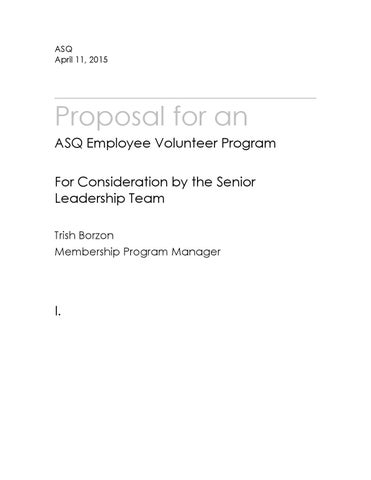 Employee Volunteer Program Proposal By Trish Borzon  Issuu