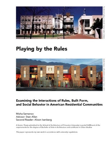 Playing by the Rules: A Senior Thesis by Misha Semenov by Misha ...