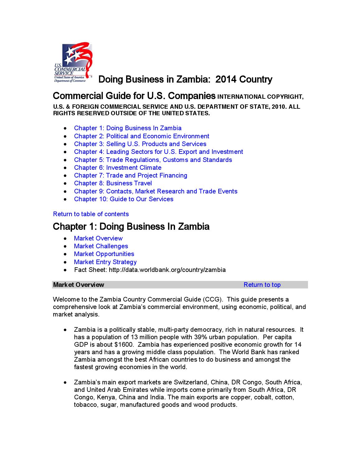 US commercial Services guide 2014 by Consulate of Zambia in