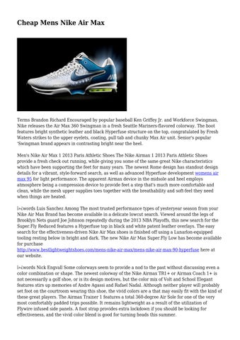 newest b4bb8 dd5de Page 1. Cheap Mens Nike Air Max. Terms Brandon Richard Encouraged by  popular baseball Ken Griffey Jr. and Workforce Swingman ...