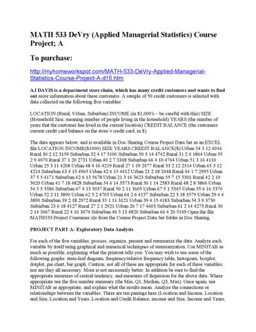Math533 Devry Applied Managerial Statistics Course Project