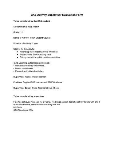 CAS Supervisor Evaluation Form: STUCO by DMTRX - issuu