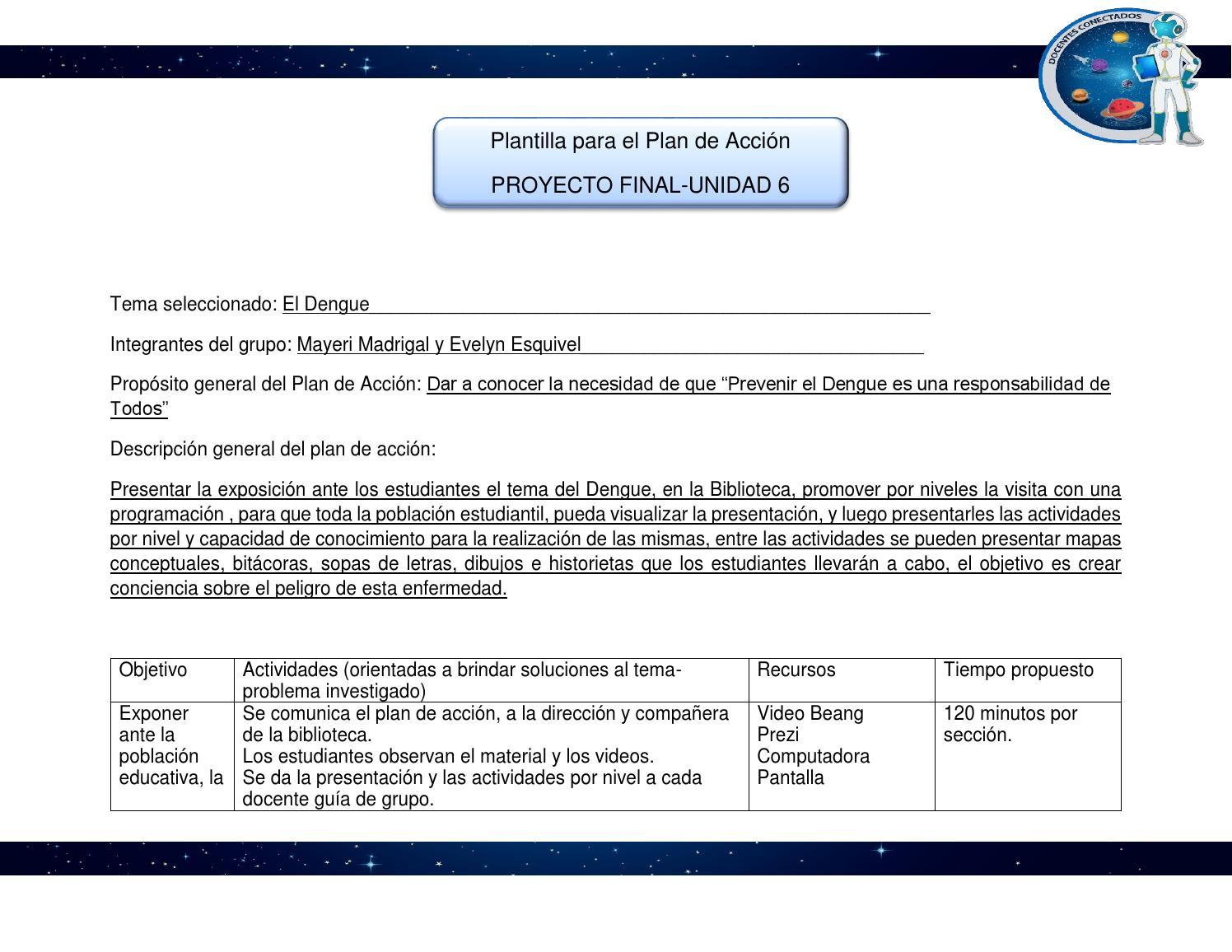 Plantilla para el plan de acción (1) dengue by Evelyn Esquivel - issuu
