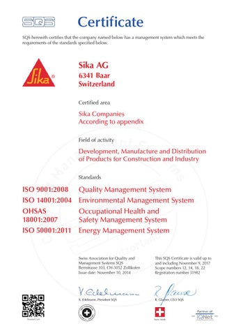 Sika Scho Cc 88nox Iso9001 14001 Engelsk By Fagflis Issuu