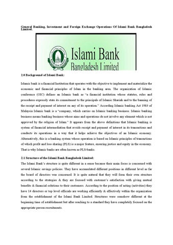 foreign exchange operation of islami bank bangladesh Bangladesh bank (bb) has been working as the central bank since the country's   maintaining foreign exchange reserve and providing transaction facilities of all  public  siddique and islam (2001) pointed out that the commercial banks, as a .