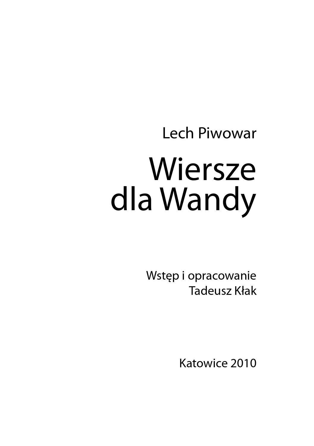 Wiersze Dla Wandy By Biblioteka Slaska Issuu