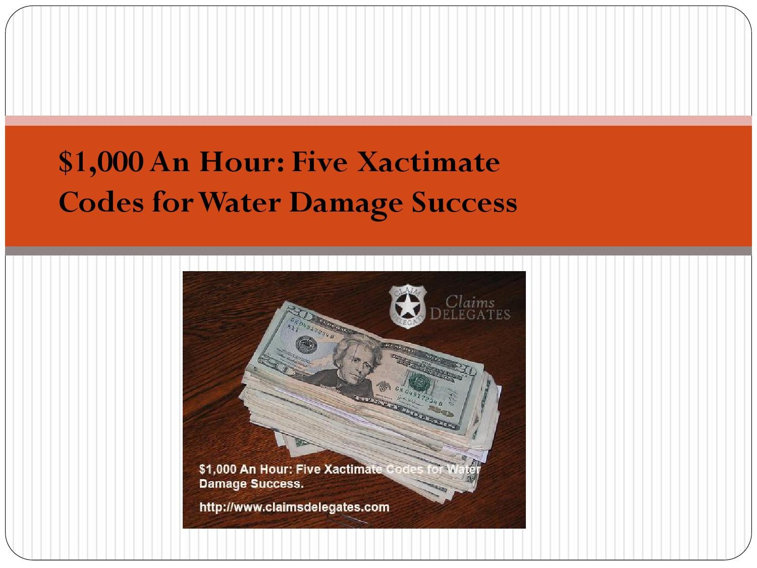 $1,000 An Hour: Five Xactimate Codes for Water Damage