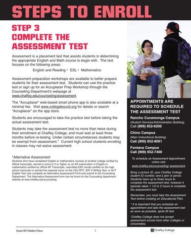 chaffey college summer schedule 2015 by chaffey college issuu rh issuu com 8th Grade Math Test Advanced Math Placement Test Practice