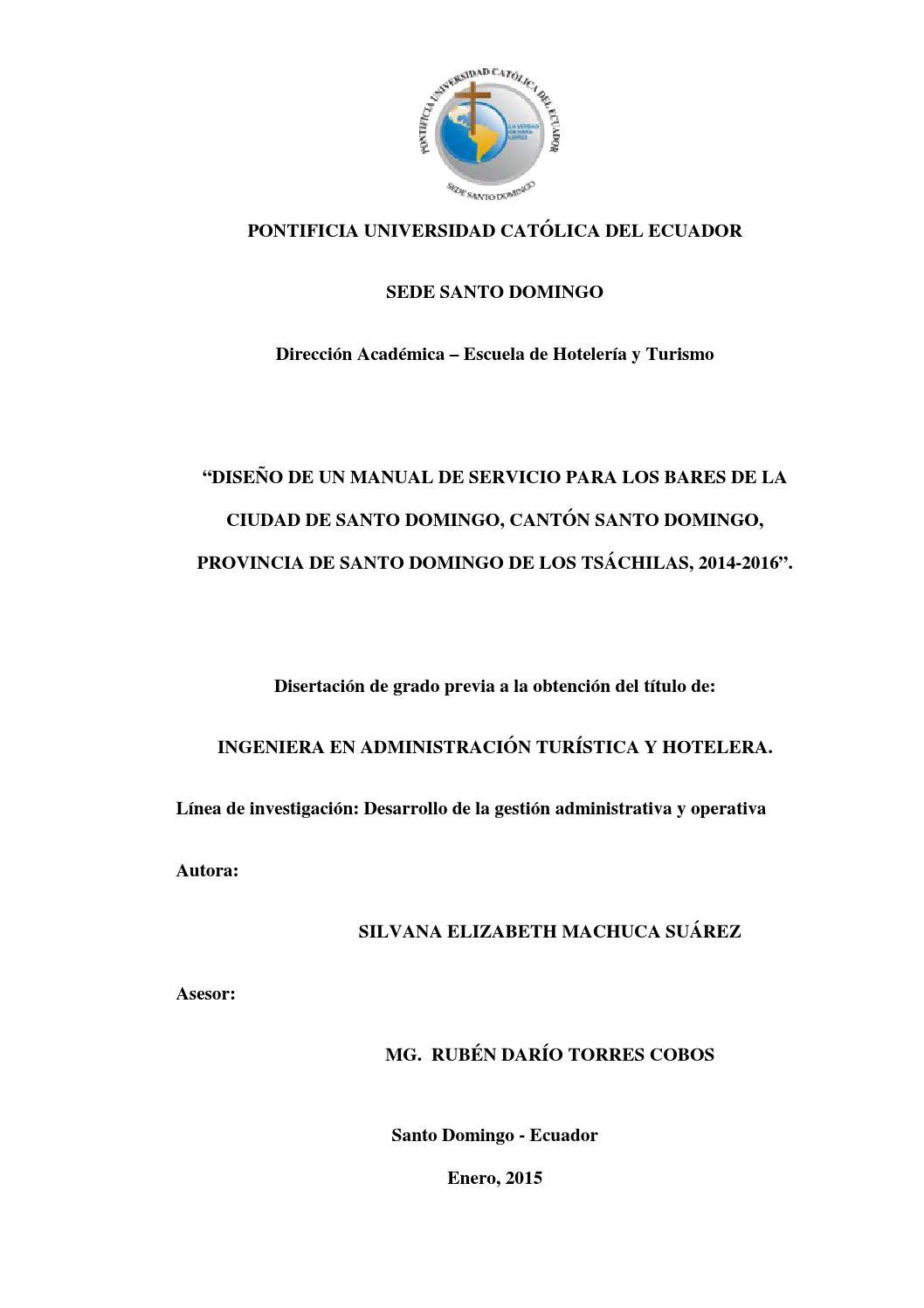 Dise o de un manual de servicio para los bares de la for Ejemplo de manual de procedimientos de un restaurante