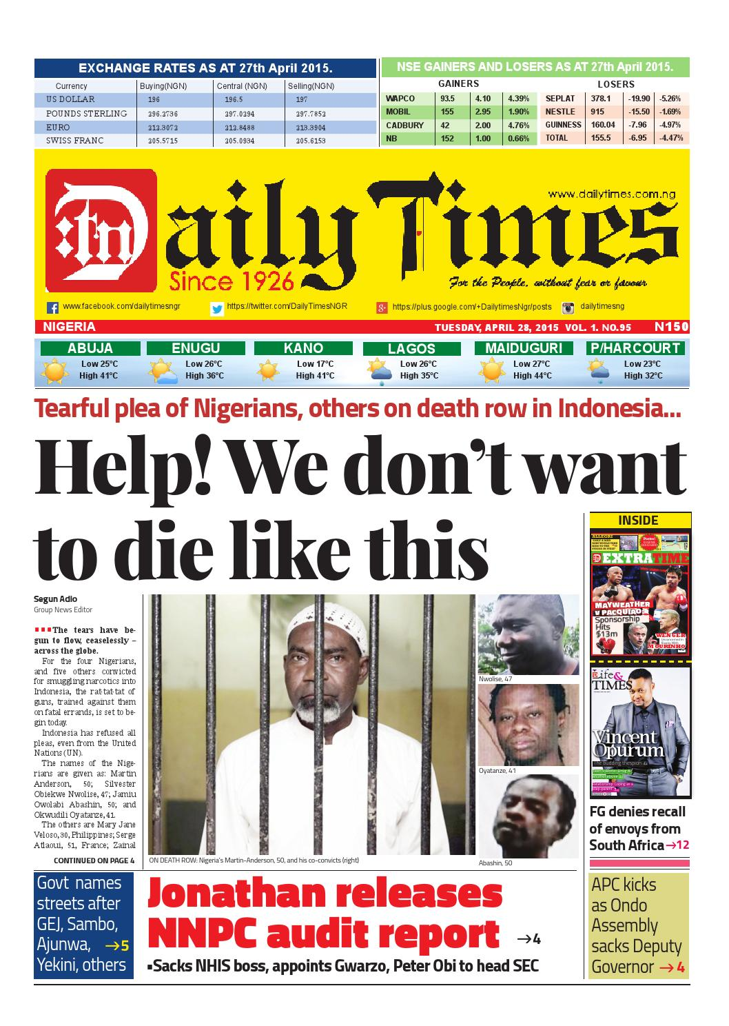 Dtn 28 4 15 By Daily Times Of Nigeria Issuu