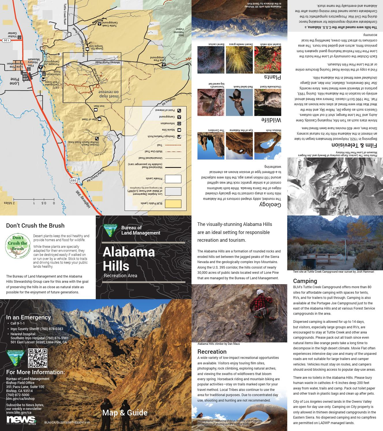 Alabama Hills Lone Pine CA BLM Recreation Map By Robert