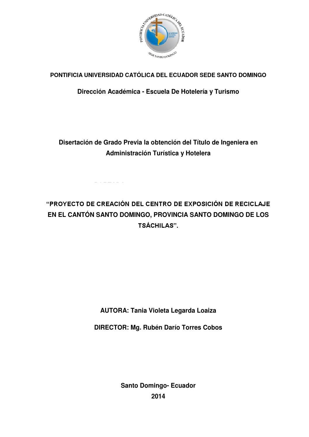 Proyecto de creación del Centro de Exportación de Reciclaje en Santo ...