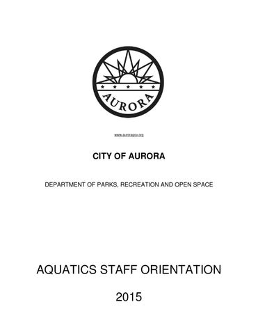 2015 Aquatics Staff Orientation Manual By Aurora Co Issuu