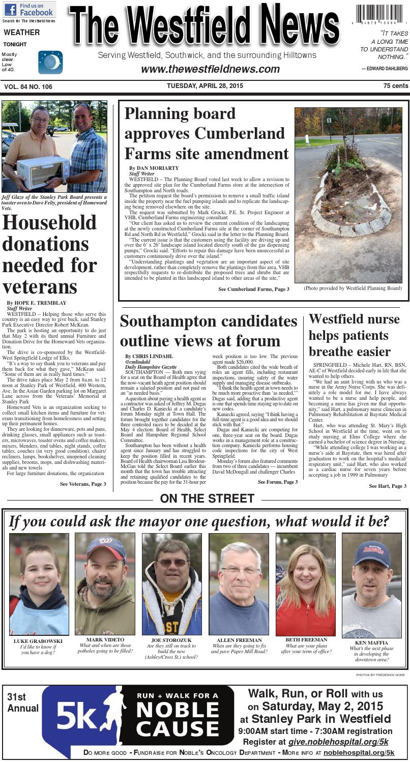 Tuesday April 28 2015 By The Westfield News Issuu