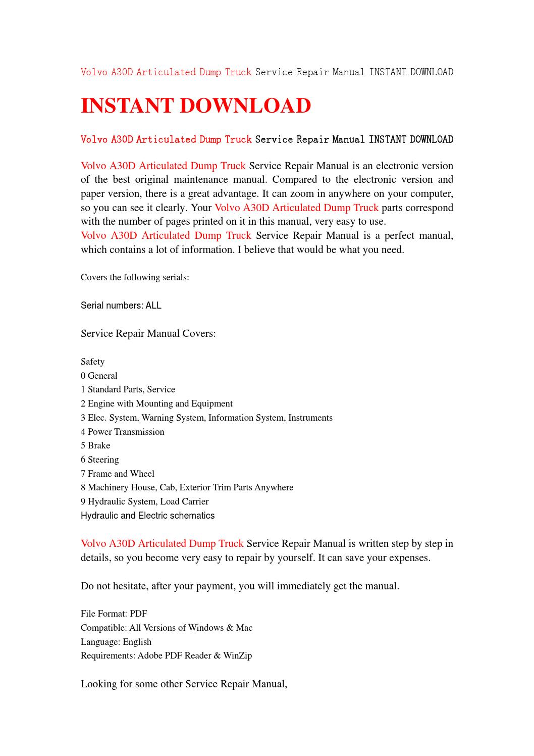 Volvo a30d articulated dump truck service repair manual instant download by  jfhsefjse - issuu
