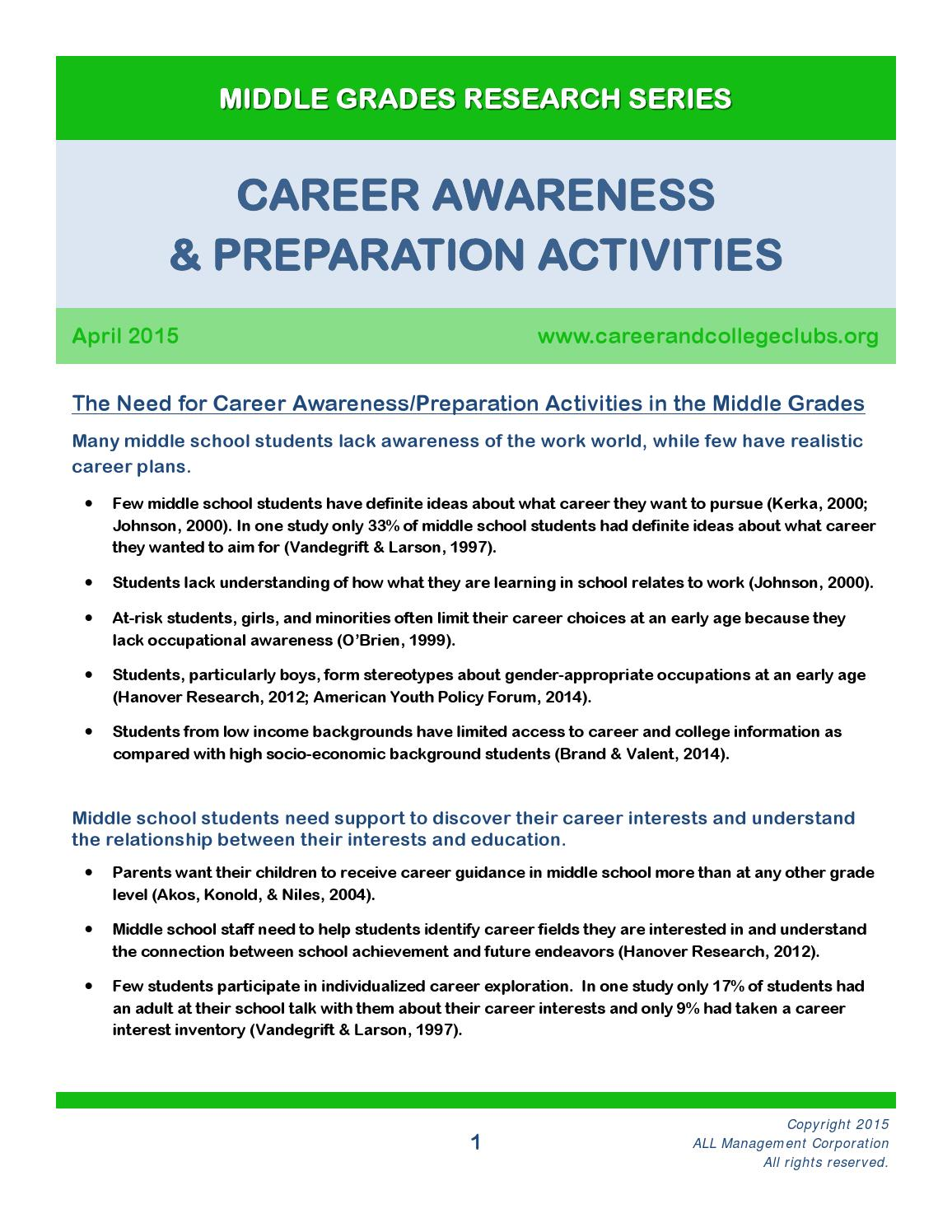 career awareness What is career awareness career awareness is the ability to understand the many career pathways available for successful long-term employment and the knowledge and skills necessary to begin work in a chosen career, and to progress in that career path.