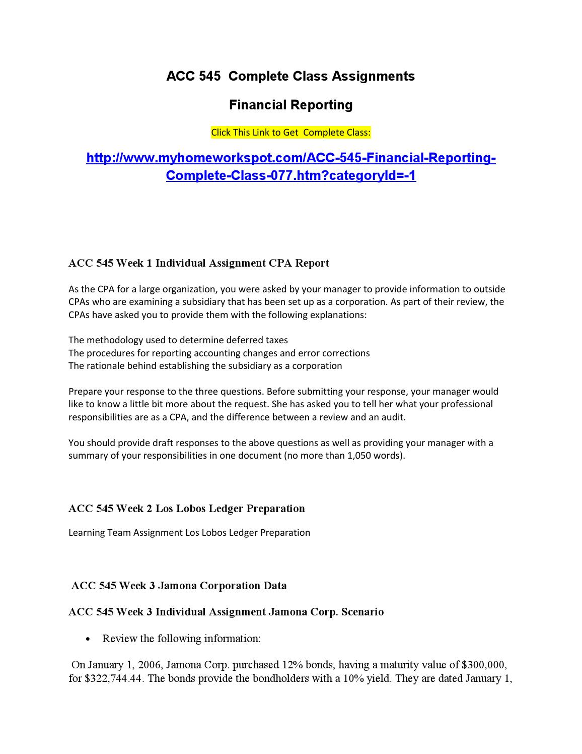 cpa report acc 545 This pack comprises acc 545 week 1 individual assignment cpa report.