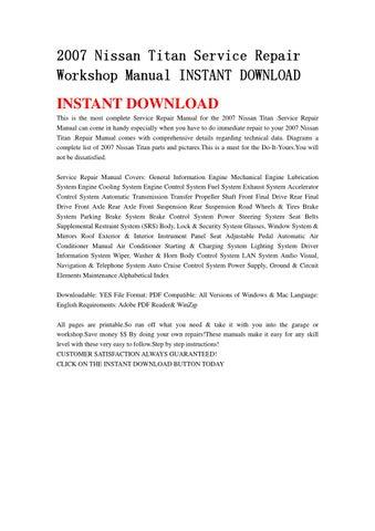 2007 nissan titan service repair workshop manual instant download by rh issuu com Nissan Titan Repair Manual PDF 2007 nissan titan repair manual
