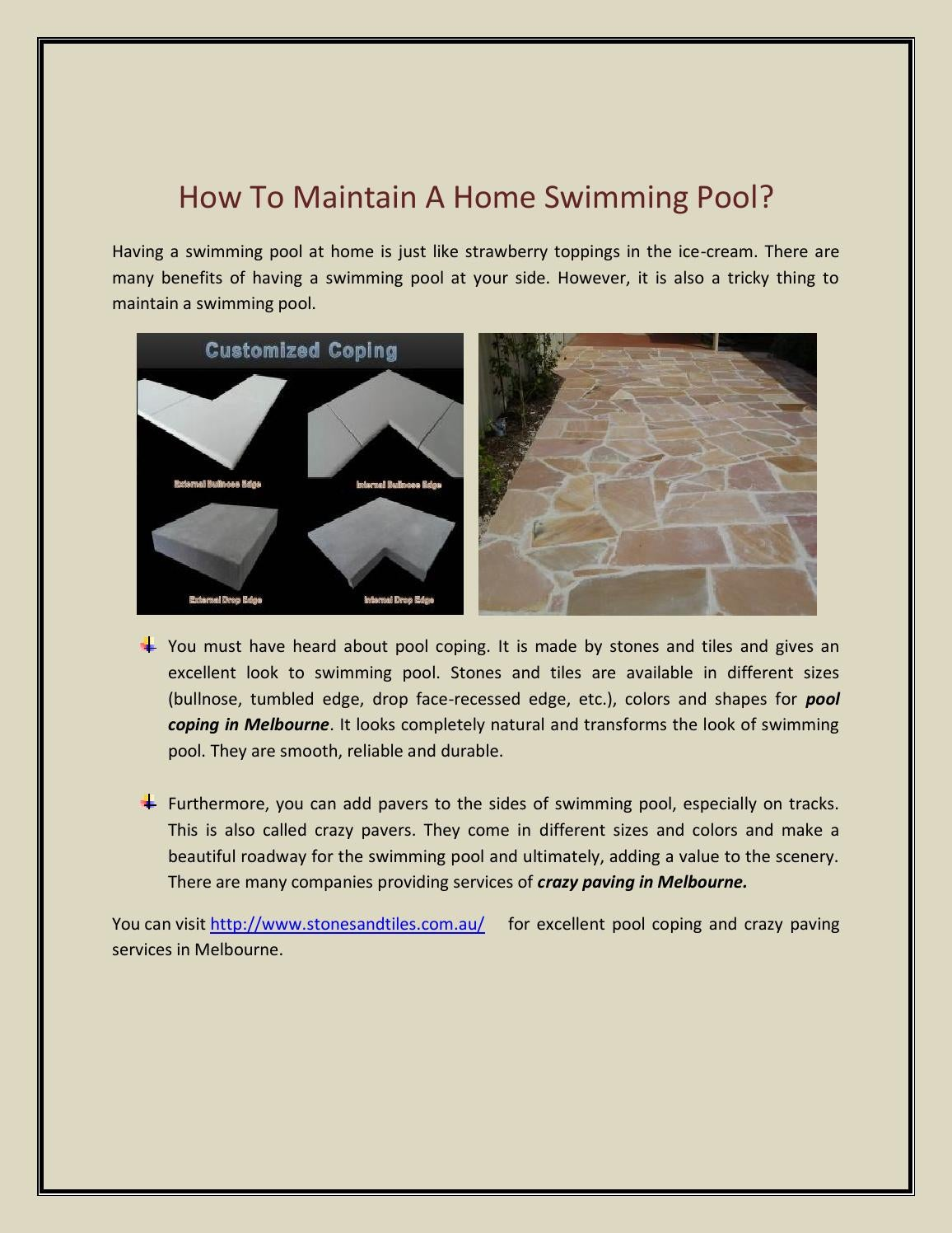 Pool coping in melbourne how to maintain a home swimming ...