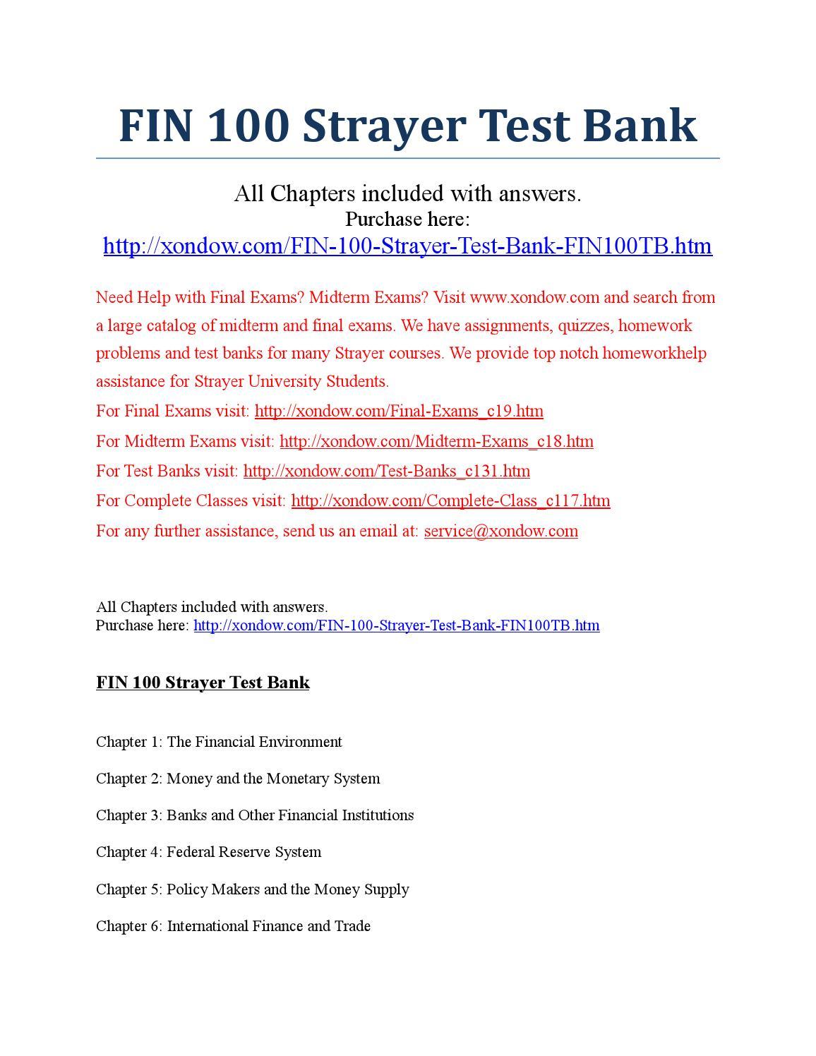 STRAYER FIN 534 Week 5 Quiz 4