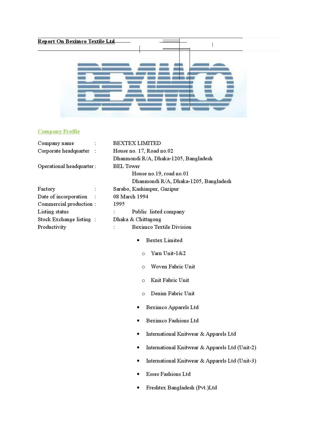 Report on beximco textile ltd by Md Papon - issuu
