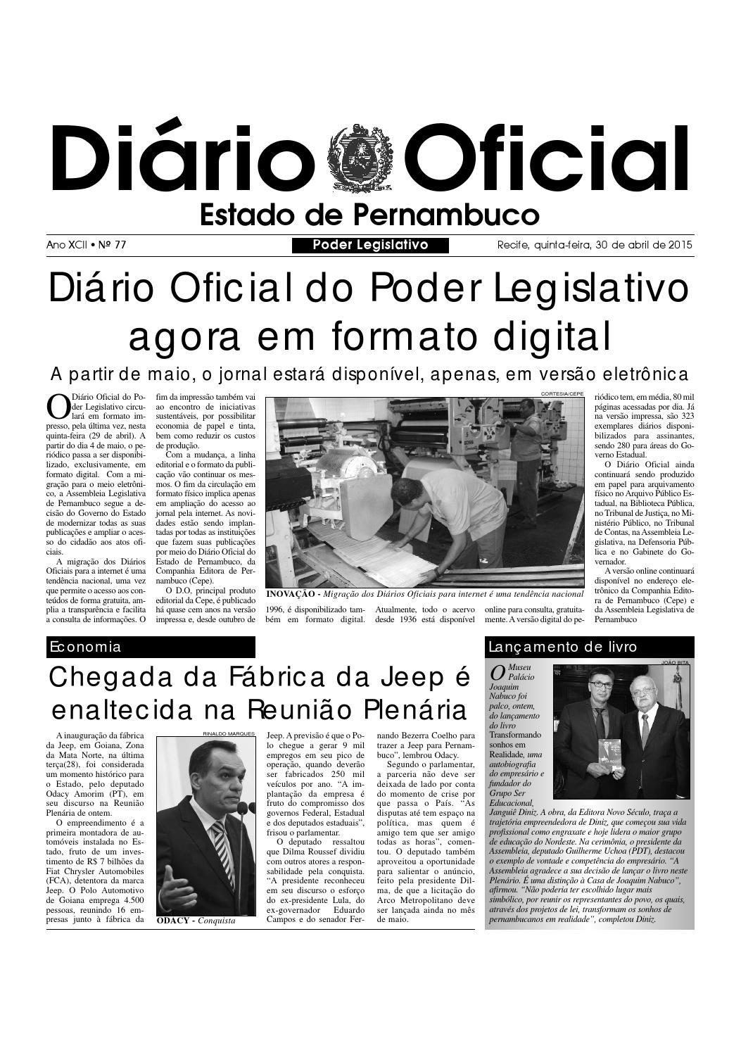 3210b263498c8 D.O ALEPE 30.04.2015 by Assembleia Legislativa do Estado de Pernambuco -  ALEPE - issuu