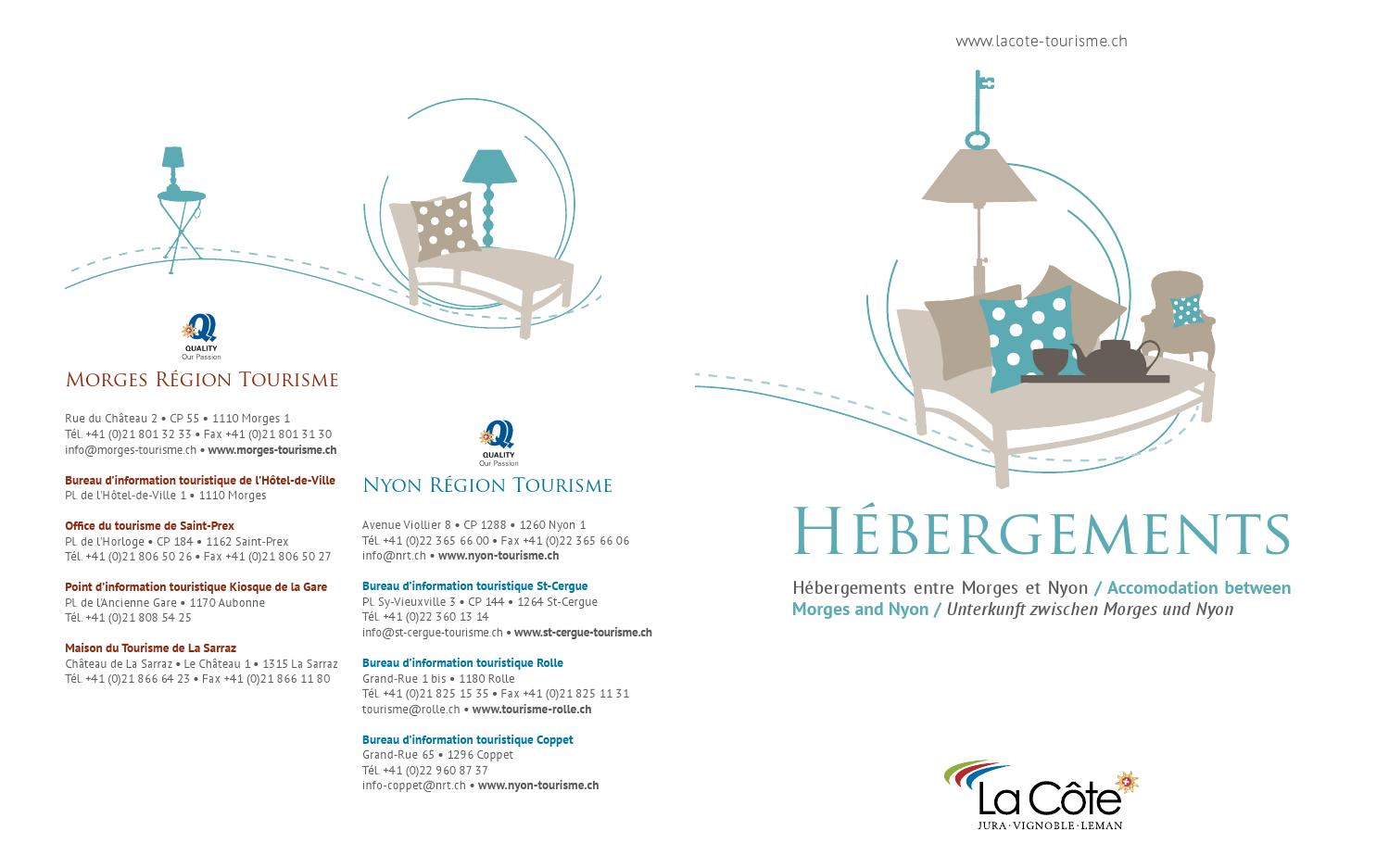 2015 h bergements la c te by r gion du l man lake geneva region genferseegebiet issuu - Office du tourisme morges ...