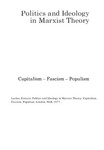 Politics And Ideology In Marxist Theory Capitalism Fascism