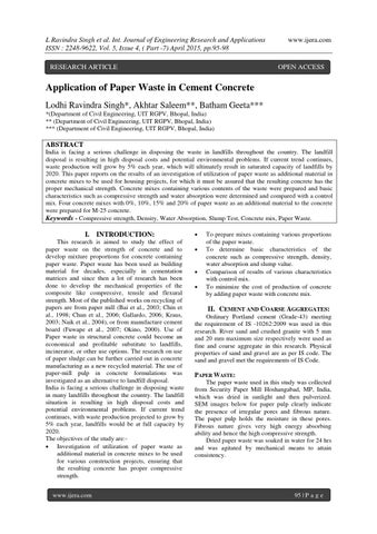Application of Paper Waste in Cement Concrete by ijera