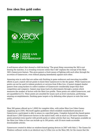 free xbox live gold codes by xboxlivegoldcegenerator55 - issuu