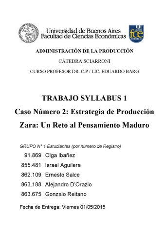 Trabajo pr ctico syllabus 1 grupo 1 caso zara by ernesto salce issuu - Esquema caso practico trabajo social ...