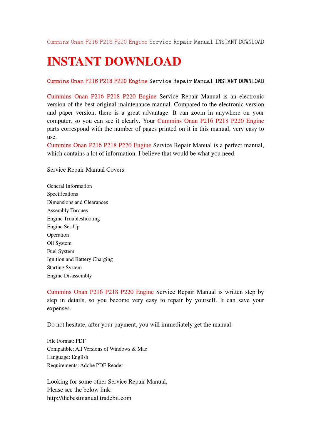 Cummins onan p216 p218 p220 engine service repair manual instant download  by jhsejnn - issuu
