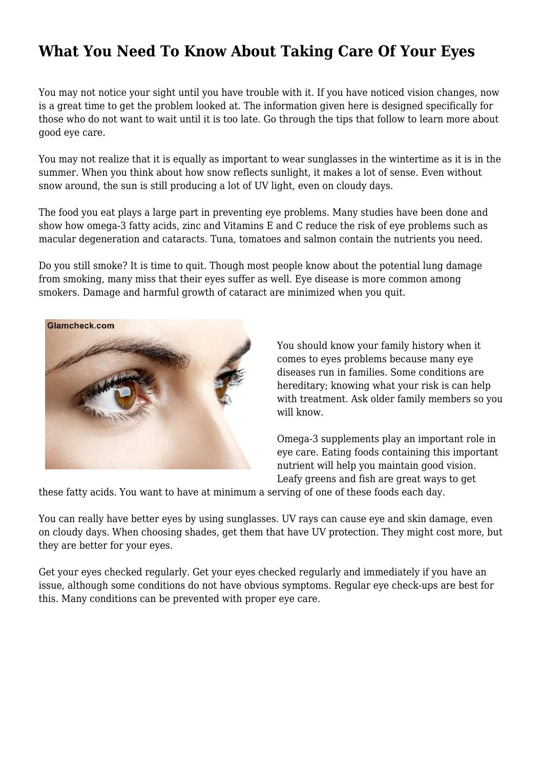704a4e21e57 What You Need To Know About Taking Care Of Your Eyes by ariellabenjamin09 -  issuu