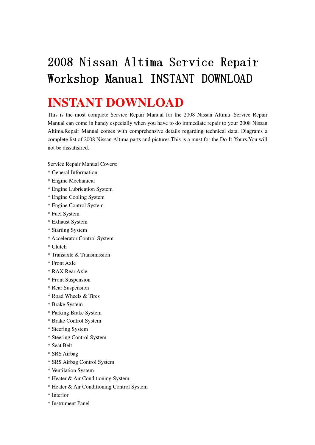 2008 nissan altima service repair workshop manual instant download rh issuu com 2007 nissan altima repair manual 2006 nissan altima repair manual free