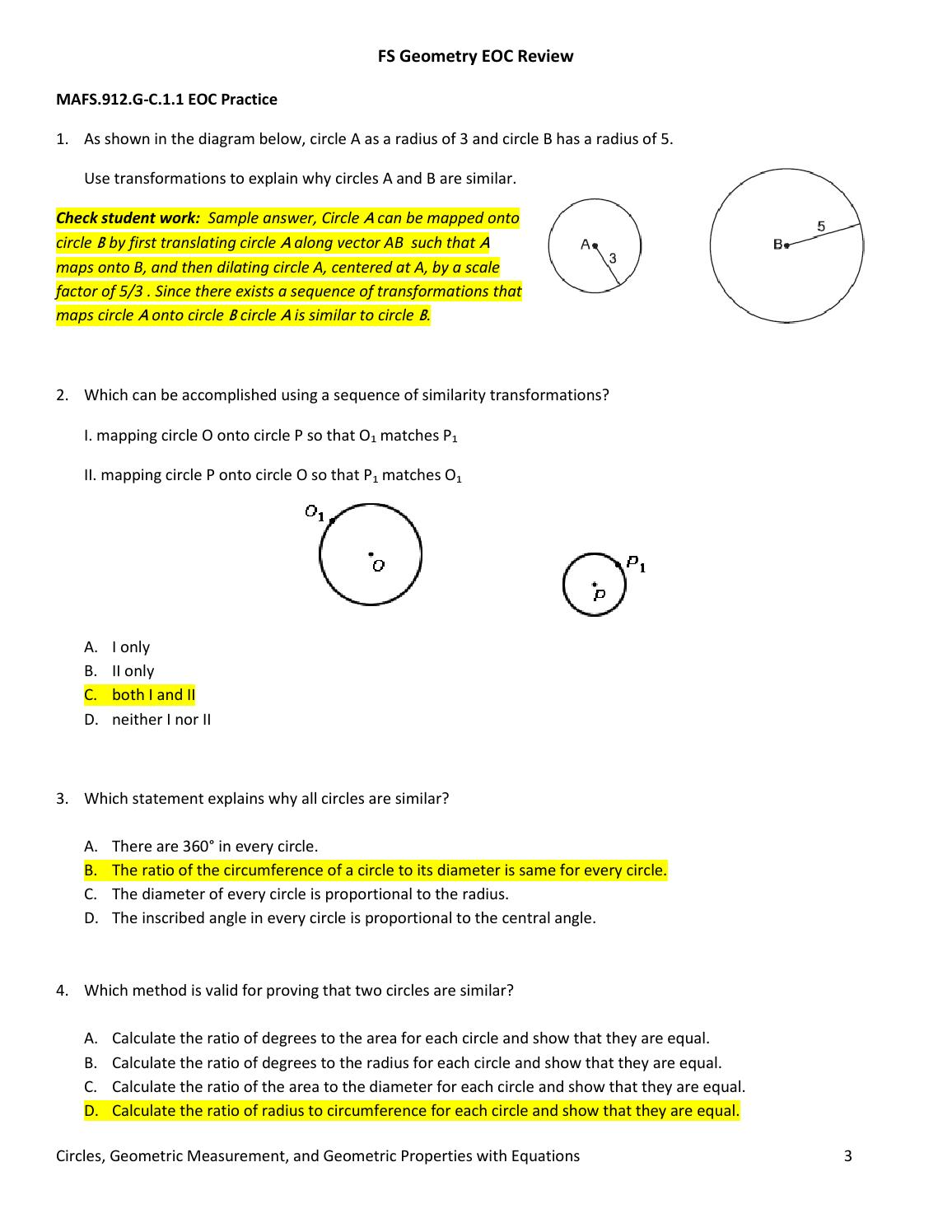 Geometry Eoc Review Answer Sheet 1 By Aaron Galit