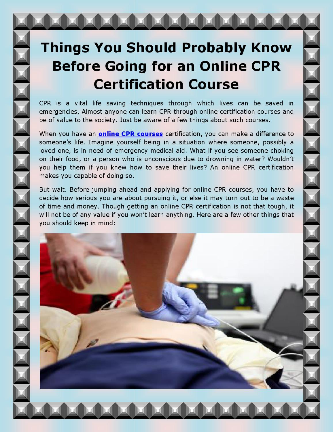 Things You Should Probably Know Before Going For An Online Cpr