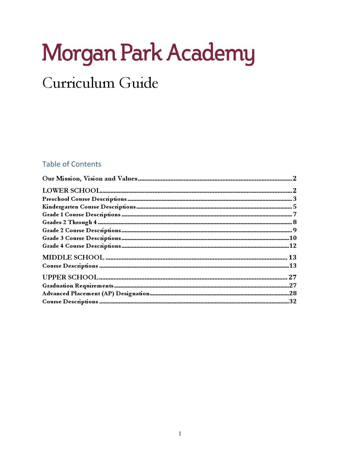 MPA Curriculum Guide By Morgan Park Academy Issuu