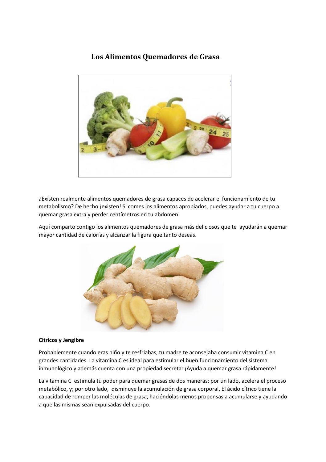 alimentos que ayudan a quemar grasas del cuerpo