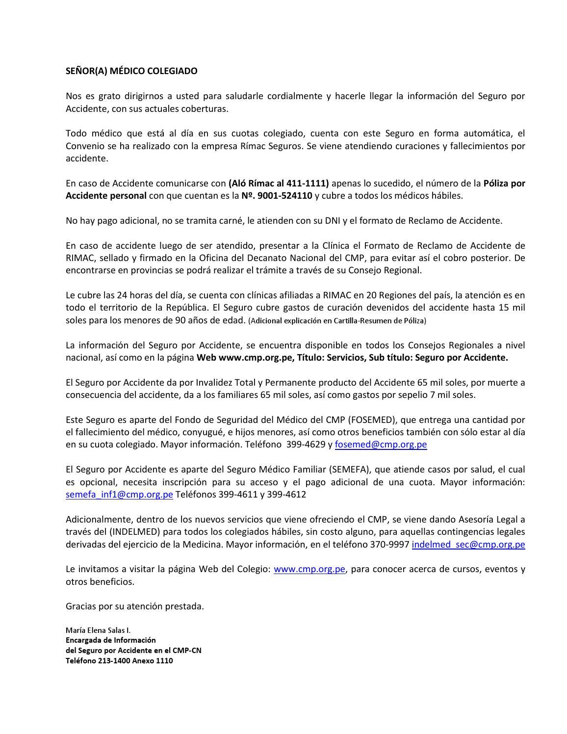 Informacion general seguro por accidente del cmp abr 2015 by sphperu ...