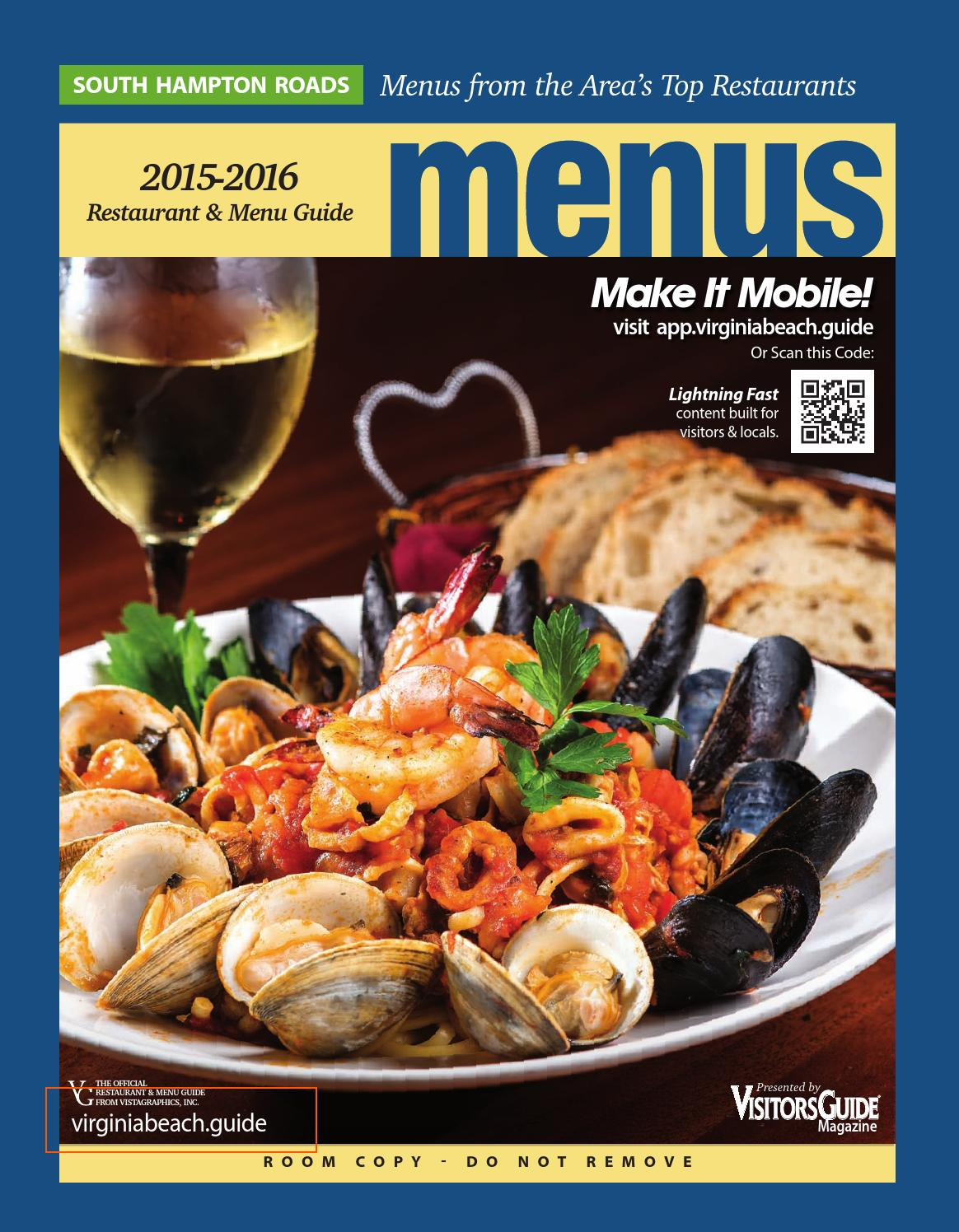 Virginia Beach Restaurant Menu Guide 2017 2016 By Vistagraphics Issuu