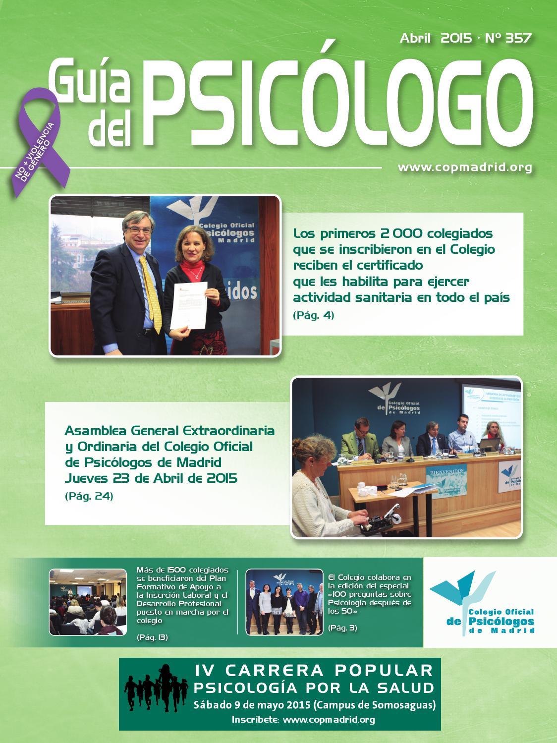 Guía del Psicólogo del mes de abril by Colegio Oficial de Psicólogos ...