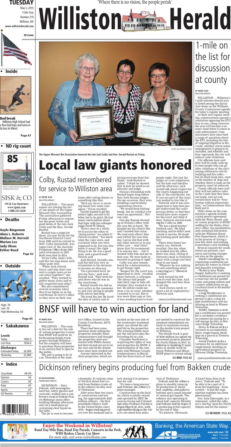 05/05/15 - Williston Herald by Wick Communications - issuu on