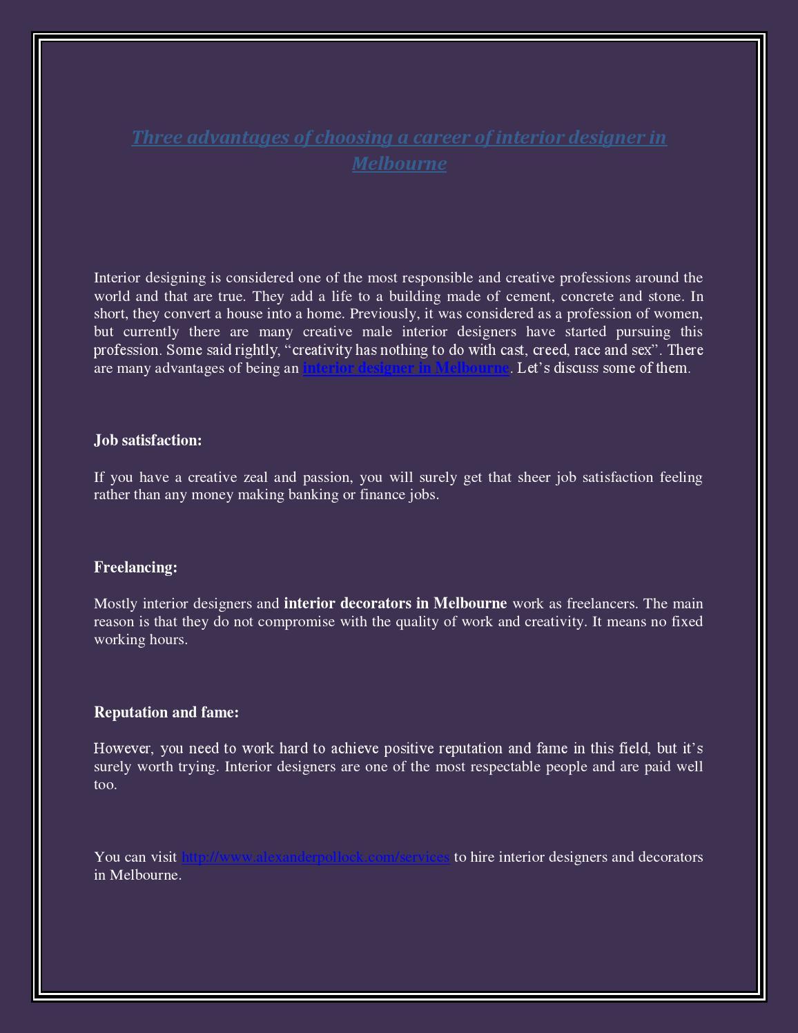 Three advantages of choosing a career of interior designer in melbourne by interiordesignermelbourne issuu