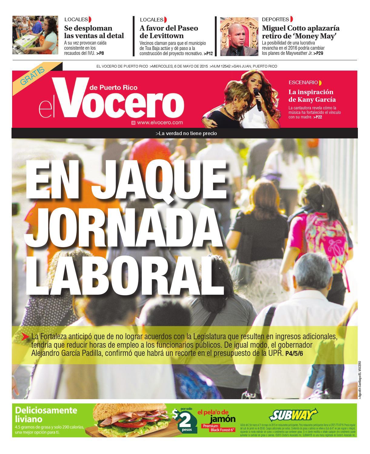 Edición 6 de Mayo 2015 by El Vocero de Puerto Rico - issuu 4bd9d27d50a