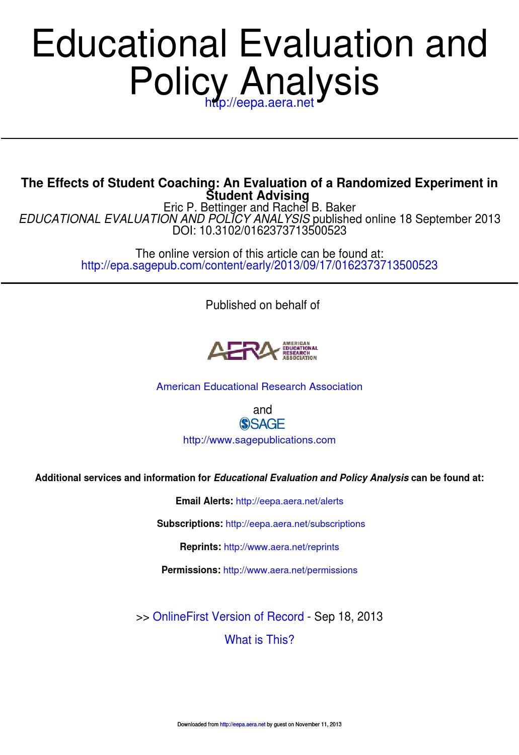 bettinger and baker the effects of student coaching services