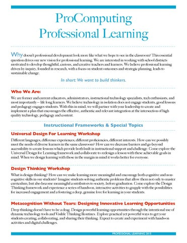 2015 Professional Learning Courses by Tracy Clark - issuu