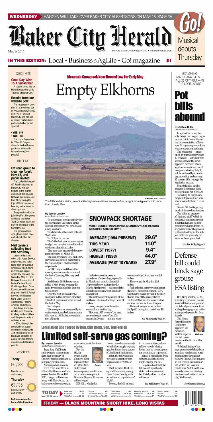 Baker City Herald paper 5 6 15 by NorthEast Oregon News issuu